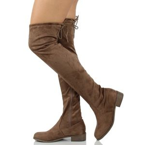 Shoes - Taupe Faux Suede Over the Knee Back Tie Boot